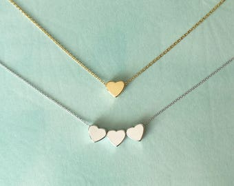 Tiny hearts necklace or choker or bracelet in silver or gold or rose gold personalized with initial