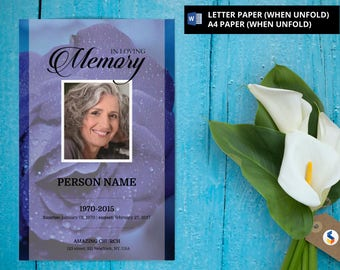 PURPLE ROSE | Funeral Program Template, Obituary Program, Memorial Program Template, Microsoft Word Template