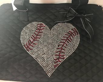 Quilted Baseball Heart Rhinestone Tote Bag