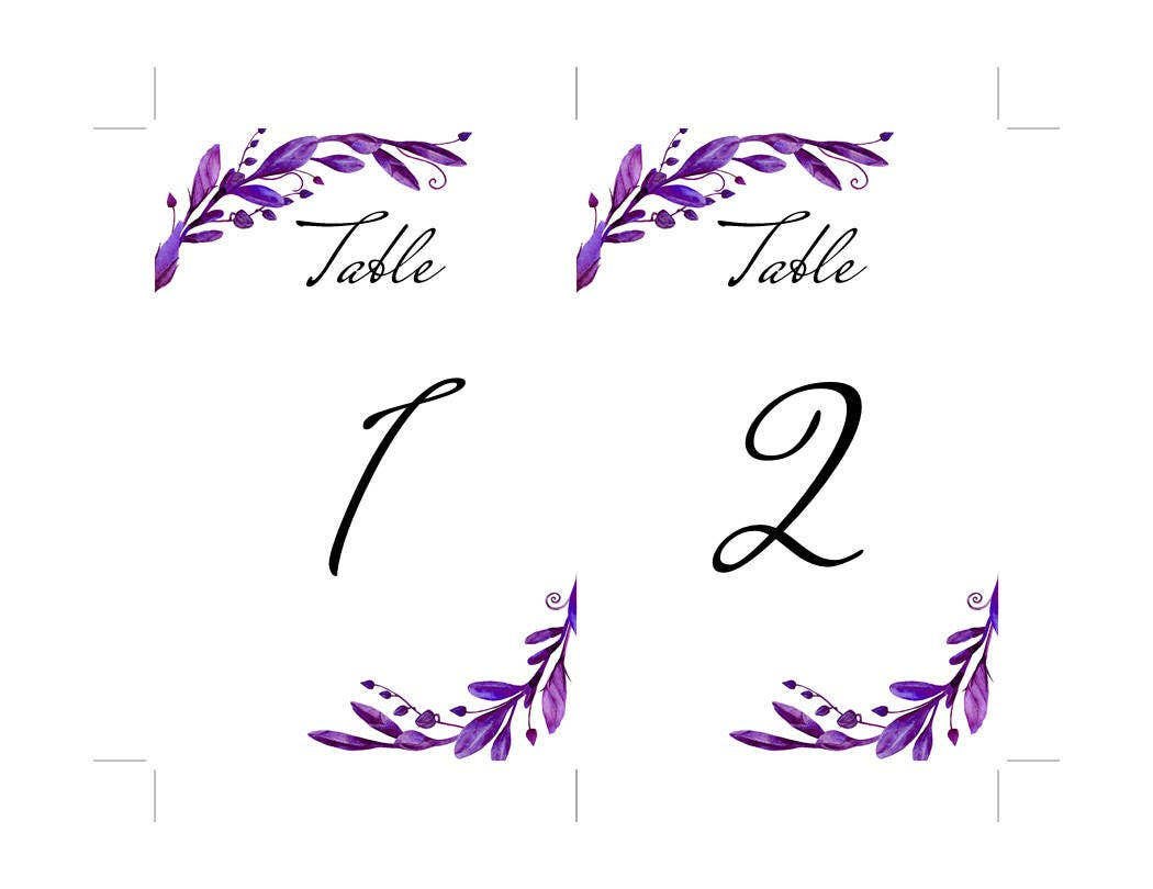 purple wedding table number floral template botanical table cards