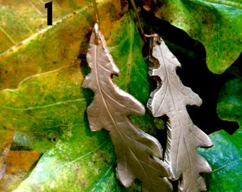 Pure bronze oak leaf earrings, metal clay earrings, pressed oak leaf earrings, Handmade earrings, mixed media earrings, bronze leaf earrings