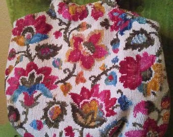 Late 60s Handmade Top Handle Floral Tapestry Purse