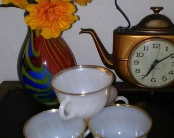 Set of 4 Vintage Anchor Hocking Fire King Gold-trimmed Milkglass Teacups