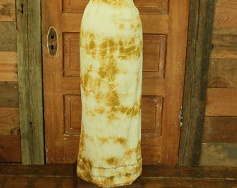 vintage 1960s hand tie dyed gold lace detail long half slip skirt plus size 2X 42-44