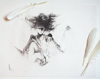 Original lithography print, large black and white fine art, angel fine art, strange and weird art, unusual art, girl with shaggy hair