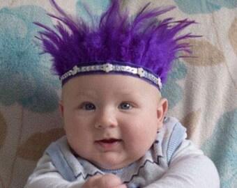 Handmade Baby/Child Feather Headdress, Purple Boho Gypsy Crown, Indian Headband