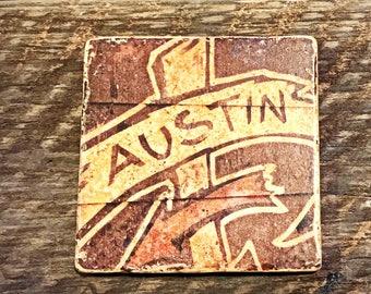 CLEARANCE SALE--Austin Handmade Stone Drink Coaster Decorative Tile Gift by GalloGraffiti