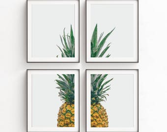Wall Art Print Sets, Pineapple, Set of 4 Prints, Modern Art Set, Pineapple Decor, Kitchen Wall Art, Pineapple Print, Livingroom Decor, Art
