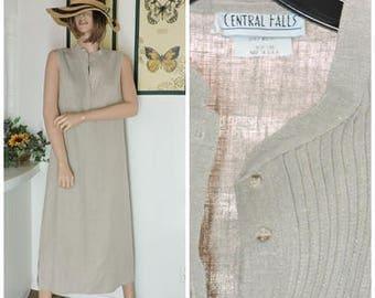 Linen maxi dress / size M / L / vintage sleeveless pin tucked natural linen long dress / beige linen summer dress / SunnyBohoVintage