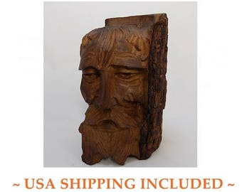 Wood Carving of an Old Mountain Man Hand Hewn With Bark