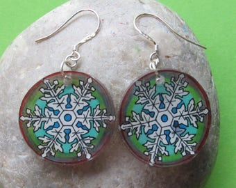 beautiful round earrings, multicolored snowflake