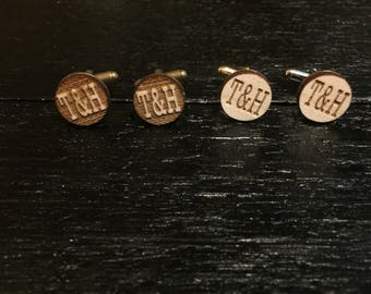 ON SALE! Custom Engraved Initial Cufflinks - Wedding cufflinks, groomsmen gift, groomsmen cuff links, suit up!