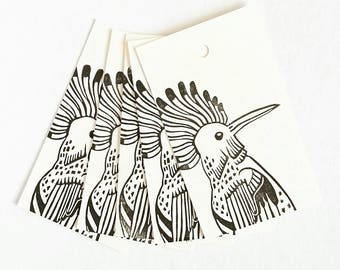 Hoopoe gift tags, set of four