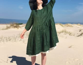 Linen dress Dress Dress with pockets sundress Linen Clothing Green Dresses