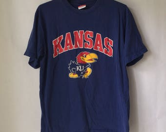 Vintage University of Kansas Jahawks Shirt - Size Large