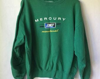 Vintage Mercury Nautical Pullover - Sweatshirt Small - Green - Teal