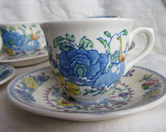 Vintage Masons ironstone duo, Staffordshire  tea cup and saucer. Regency Plantation Colonial. Tea party, cottage or farmhouse home decor