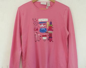 Holiday Pink T Shirt Long Sleeve Liz Claiborne Christmas Must Have Graphic Top Medium Ugly Christmas Party T Top 1990s New Graphics Shirt