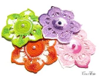 Crochet flower appliques, Set of 4 crochet flowers, Colorful flowers, Applicazioni fiore