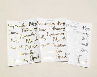 Foiled Months - Planner Stickers - Erin Condren - Plum Paper - Kikki K - Paperchase - Filofax