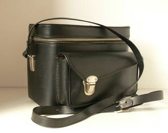 Vintage Black Leather Camera Bag / Case With Red Interior - Nice and Compact - 2 Available