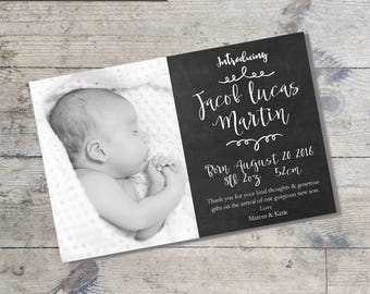 Chalkboard BABY ANNOUNCEMENT Card DIY Printable  Baby Thank You Card