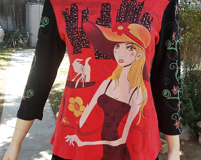 Vintage 90s Cityscape Goth Cactus Black Red Womens Embellished Fashionista Long Sleeve Tee Shirt Pullover Top T-shirt M