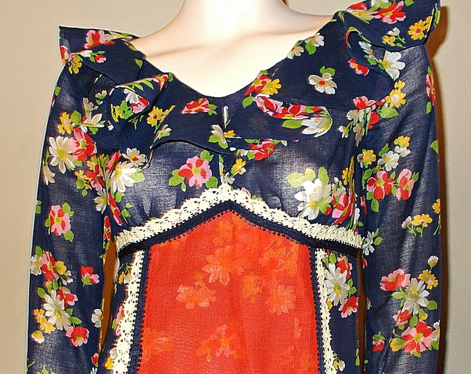 Vintage 60s Rare Black Label Gunne Sax of California Womens Peasant Navy Blue Red Sheer Floral Calico Woodstock Long Sleeve Maxi Dress
