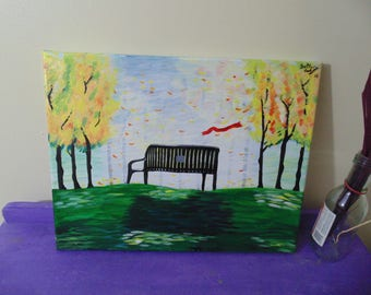 Original Lonely Bench, Acrylic Painting