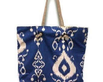 HANDMADE SHOULDER BAG, Beach Bag, Diaper Bag, Slouchy Bag, Blue with Pale Yellow Lining, Jute Handles, 3 Inside Pockets, Magnetic Snap