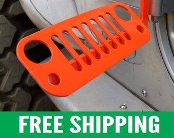 Jeep Foot Pegs for JK Wrangler | Orange Pair