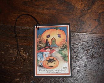 FOUR Vintage Halloween Witch Kitty Pumpkin Hang Tags / Gift Tags
