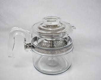 Vintage Pyrex Percolator, Glass Coffee Pot, Flameware Coffee Pot 7754B