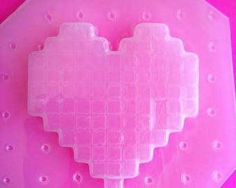 SUMMER SALE Large Pixel Gamer Heart Cabochon Flexible Plastic Mold For Resin Crafts Jewelry
