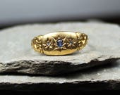 Antique 1912 18CT Gold Sapphire And Diamond Ring