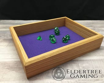 Premium Dice Tray - Table Top Sized - Red Oak with Felt or Leather Rolling Surface - Eldertree Gaming