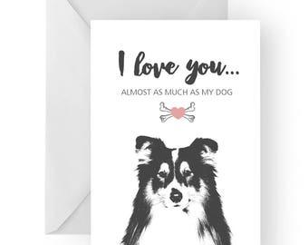 Shetland anniversary card- birthday card, love card, dog birthday card, shetland sheepdog anniversary, shetland sheepdog birthday card