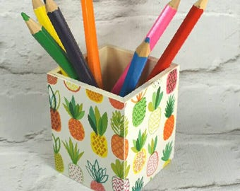 Pineapple Wooden Pencil Pot