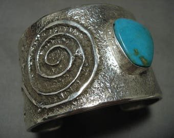 Mesmerizing Navajo Blue Gem Turquoise Tufa Casted Silver Bracelet