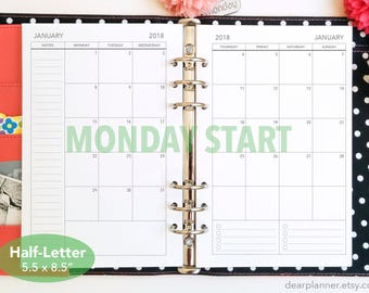 PRINTED Month on 2 page - MONDAY start - Mo2p calendar - Dated thru December 2018 - Monthly planner insert - Mon-Sun Half letter A5 - 25H