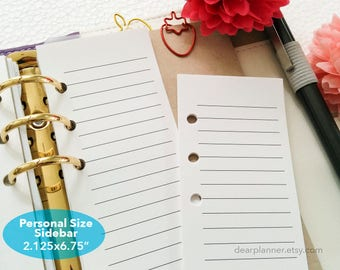 PRINTED Lined SIDEBAR insert - To-do list insert - Personal size sidebar insert - Lined notes half page - P41