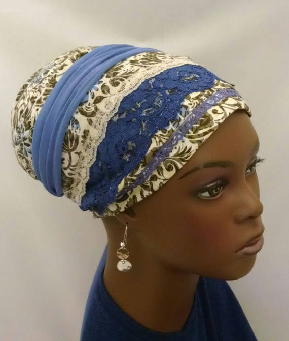Blue purple lace and cotton sinar tichel, tichels, chemo scarves, head scarf, hair snood