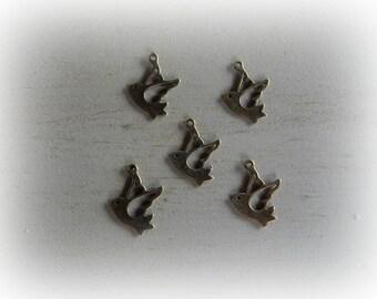 5 charm pendant 22 * 17 mm bronze metal bird