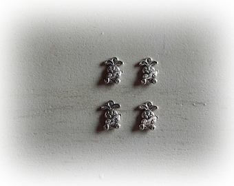 4 rabbit with his carrot 14 * 10 mm silver plated charms