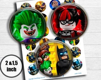 "Lego Batman - Digital Collage Sheet 2"" 1.5"" circle clipart Printable Image Download for favor magnets cupcake toppers"