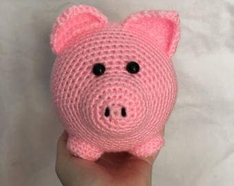 READY TO SHIP handmade crochet amigurumi art toy stuffed animal toy large pig plushie