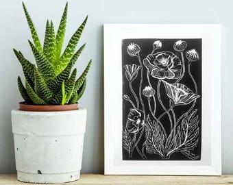 Monochrome Black and White Poppy botanic art prints, wall art, wall decor, living room wall art, bedroom wall art,Illustration