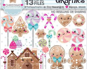 80%OFF - Gingerbread Clipart, Gingerbread Graphics, COMMERCIAL USE, Gingerbread Party, Planner Accessories, Christmas Clipart