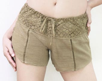 Casual Cotton Beach Shorts, Women Drawstring Shorts with Lace Waistline in Khaki Brown, Beach Cover Up