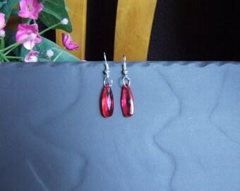 1 pair of tassel silver red crystal earrings